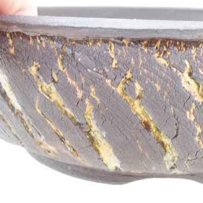Ceramic bonsai bowl 19 x 19 x 6 cm, color crack yellow - 2