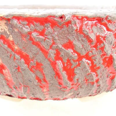 Ceramic bonsai bowl 19 x 19 x 7 cm, color cracked red - 2