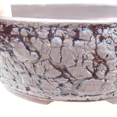 Ceramic bonsai bowl 19 x 19 x 6.5 cm, gray-black color - 2