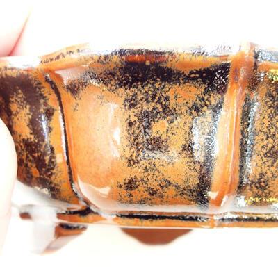 Ceramic bonsai bowl 16 x 15.5 x 5 cm, brown-black color - 2