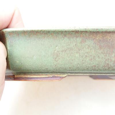 Ceramic bonsai bowl 12.5 x 17.5 x 4 cm, color green - 2