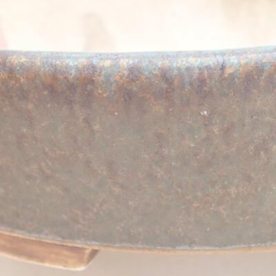 Ceramic bonsai bowl 14 x 13 x 3.5 cm, color brown-green - 2