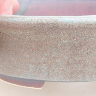 Ceramic bonsai bowl 12 x 11 x 3 cm, brown-blue color - 2