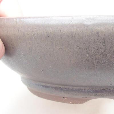 Ceramic bonsai bowl 18.5 x 18.5 x 5 cm, brown color - 2
