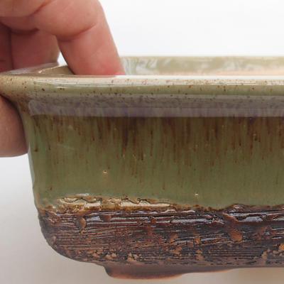 Ceramic bonsai bowl 17 x 12 x 6 cm, color green - 2