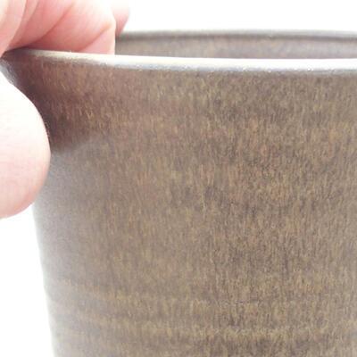 Ceramic bonsai bowl 11.5 x 11.5 x 12 cm, brown color - 2