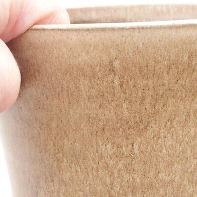 Ceramic bonsai bowl 12.5 x 12.5 x 12.5 cm, beige color - 2