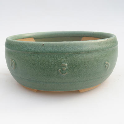 Ceramic bonsai bowl 12 x 12 x 4 cm, color green - 2