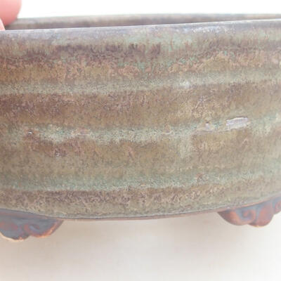 Ceramic bonsai bowl 10.5 x 9 x 4.5 cm, color brown-green - 2
