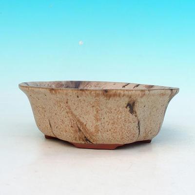 Ceramic bonsai bowl H 06 - 14,5 x 14,5 x 4,5 cm, beige - 14.5 x 14.5 x 4.5 cm - 2