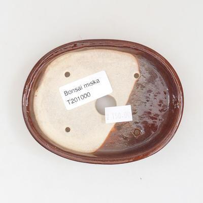 Ceramic bonsai bowl 11 x 9 x 2.5 cm, brown color - 3