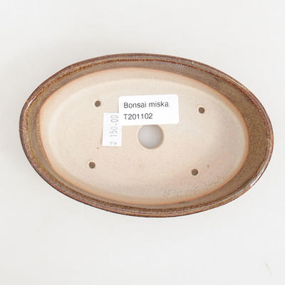 Ceramic bonsai bowl 14.5 x 9 x 3.5 cm, brown color - 3