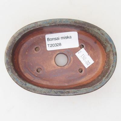 Ceramic bonsai bowl 12 x 8 x 3 cm, brown-blue color - 3