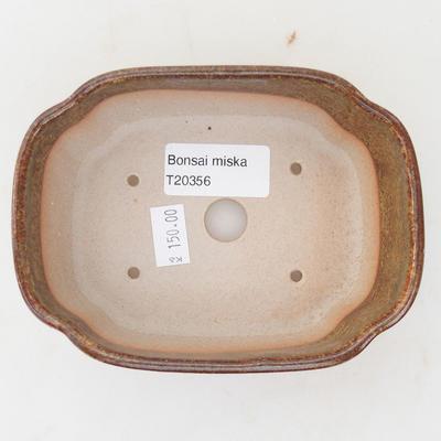 Ceramic bonsai bowl 12.5 x 10 x 4.5 cm, brown-green color - 3