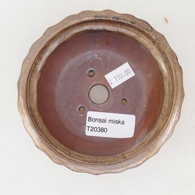 Ceramic bonsai bowl 11,5 x 11,5 x 4,5 cm, brown-beige color - 3