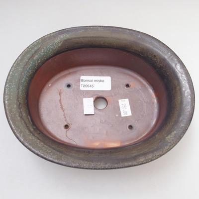 Ceramic bonsai bowl 19 x 15 x 6 cm, color green-brown - 3