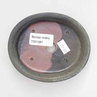 Ceramic bonsai bowl 12 x 10 x 2.5 cm, gray color - 3