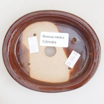 Ceramic bonsai bowl 12 x 10 x 2.5 cm, brown color - 3