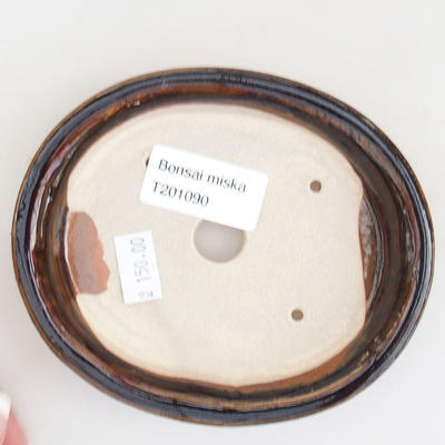 Ceramic bonsai bowl 12 x 10 x 2.5 cm, brown color - 3