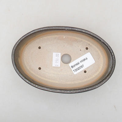 Ceramic bonsai bowl 14 x 9.5 x 4 cm, color green - 3
