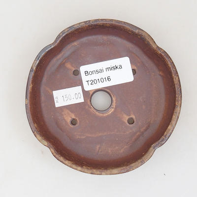 Ceramic bonsai bowl 10.5 x 10.5 x 2.5 cm, brown color - 3