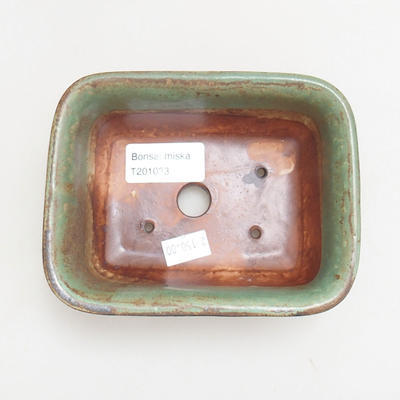 Ceramic bonsai bowl 13 x 10 x 5.5 cm, color green - 3
