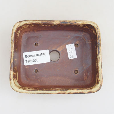 Ceramic bonsai bowl 12 x 9.5 x 3.5 cm, color brown-yellow - 3