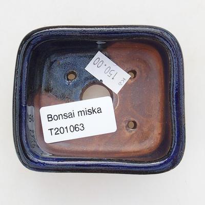 Ceramic bonsai bowl 7.5 x 7 x 3 cm, color blue - 3