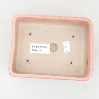 Ceramic bonsai bowl 14.5 x 10.5 x 5 cm, pink color - 3