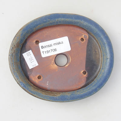 Ceramic bonsai bowl 12.5 x 11 x 2 cm, color blue - 3