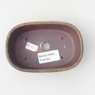 Ceramic bonsai bowl 13 x 8,5 x 3,5 cm, brown color - 3