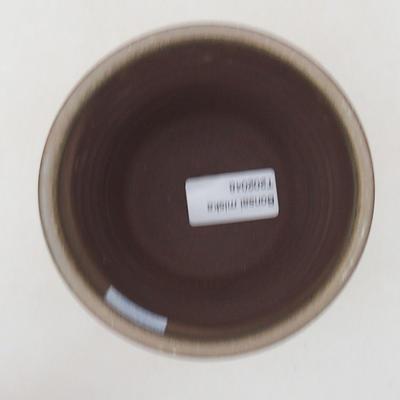 Ceramic bonsai bowl 10.5 x 10.5 x 10 cm, color brown-green - 3