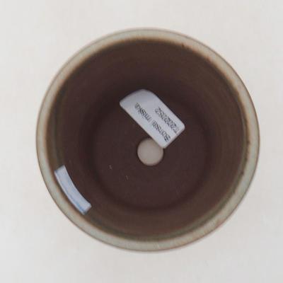 Ceramic bonsai bowl 9.5 x 9.5 x 10.5 cm, brown color - 3
