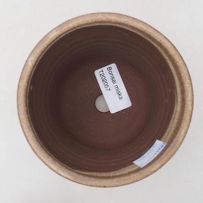 Ceramic bonsai bowl 10.5 x 10.5 x 9.5 cm, beige color - 3