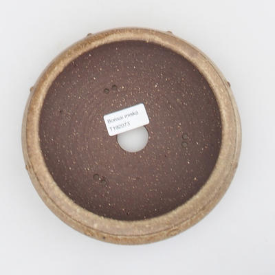 Ceramic bonsai bowl - 17 x 17 x 5,5 cm, brown-beige color - 3
