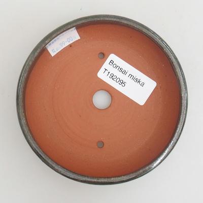 Ceramic bonsai bowl 10 x 10 x 2,5 cm, color green - 3
