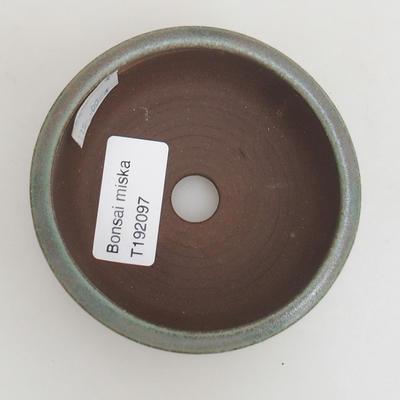 Ceramic bonsai bowl 8.5 x 8.5 x 4 cm, color green - 3