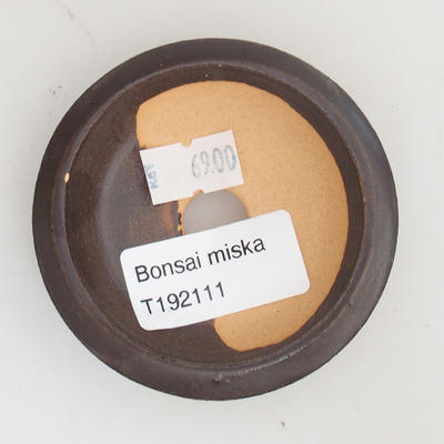 Ceramic bonsai bowl 7 x 7 x 1,5 cm, brown color - 3