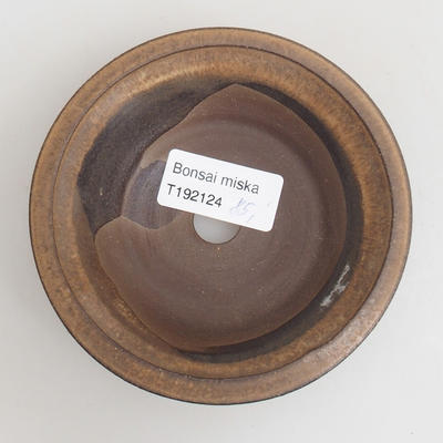Ceramic bonsai bowl 10.5 x 10.5 x 3 cm, brown color - 3