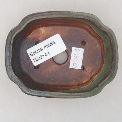 Ceramic bonsai bowl 10 x 7.5 x 3.5 cm, color green - 3