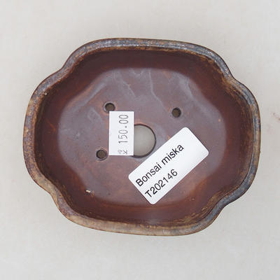 Ceramic bonsai bowl 10 x 8 x 3 cm, color brown - 3
