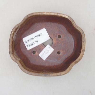 Ceramic bonsai bowl 10 x 8 x 3 cm, color brown - 3