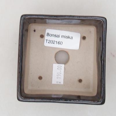 Ceramic bonsai bowl 8 x 8 x 4.5 cm, color black - 3