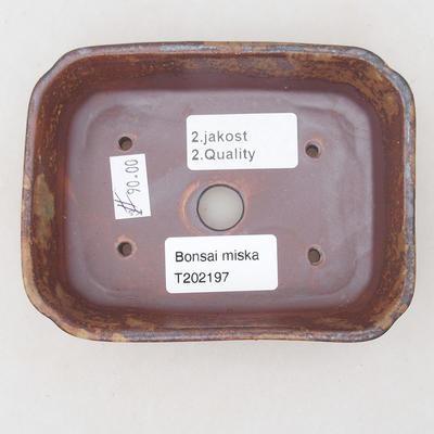 Ceramic bonsai bowl 12.5 x 9.5 x 3 cm, color brown-green - 2nd quality - 3