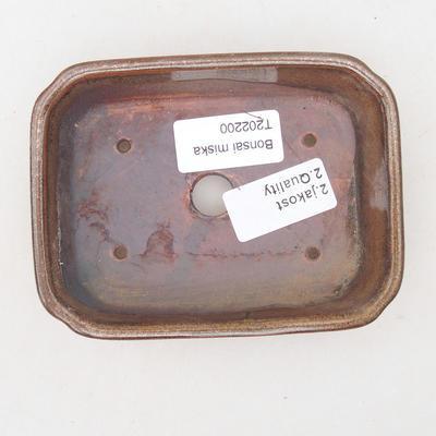 Ceramic bonsai bowl 12.5 x 9.5 x 3 cm, brown color - 2nd quality - 3