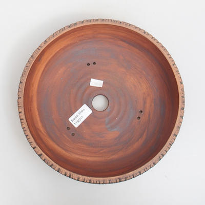 Ceramic bonsai bowl 25 x 25 x 7 cm, brown-green color - 3