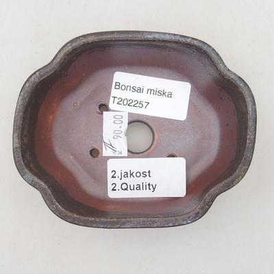Ceramic bonsai bowl 10.5 x 9 x 3.5 cm, brown-blue color - 2nd quality - 3