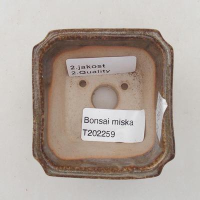 Ceramic bonsai bowl 6.5 x 6.5 x 5.5 cm, color brown-green - 2nd quality - 3