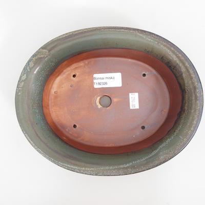 Ceramic bonsai bowl 23 x 18,5 x 6,5 cm, brown-blue color - 3