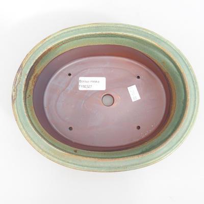 Ceramic bonsai bowl 23 x 18,5 x 6,5 cm, brown-green color - 3